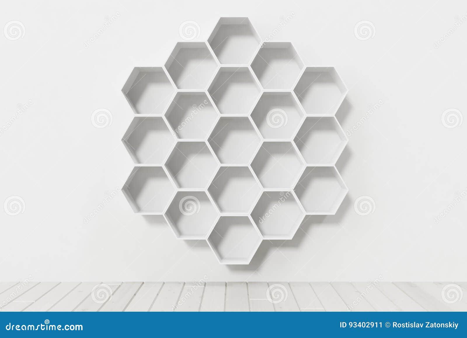 Esvazie a parede branca com as prateleiras do hexágono na parede, rendição 3D