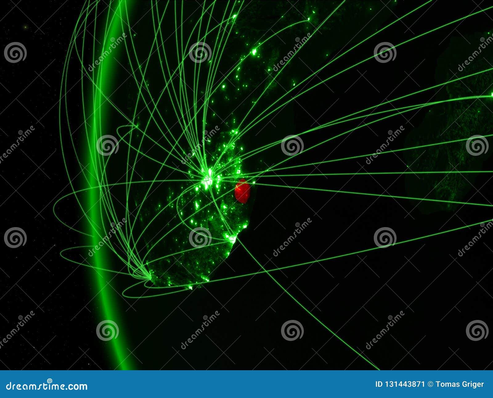 ESwatini van ruimte op groen model van Aarde met internationale netwerken Concept groene mededeling of reis 3D Illustratie