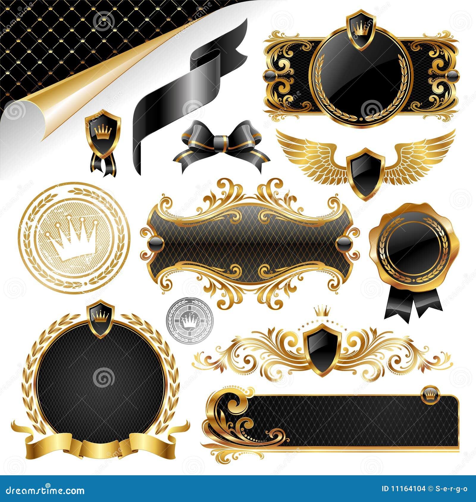 Or et collection noire d éléments de conception