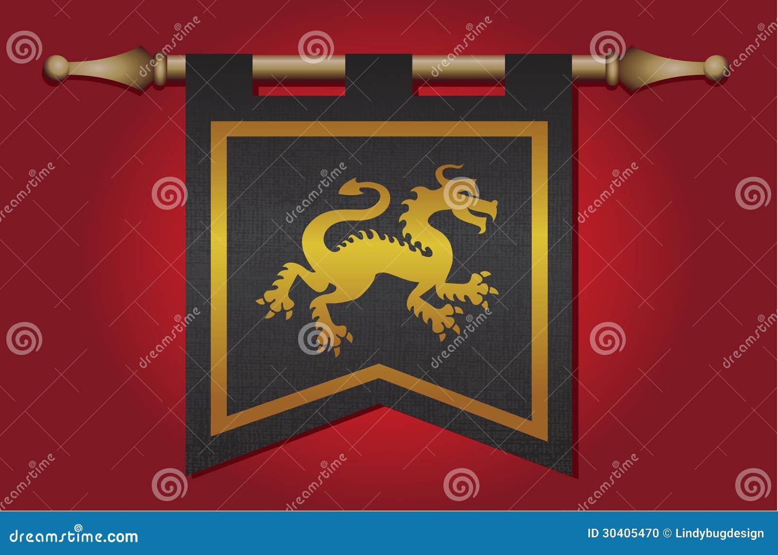 drapeau mdival avec l emblme de dragon