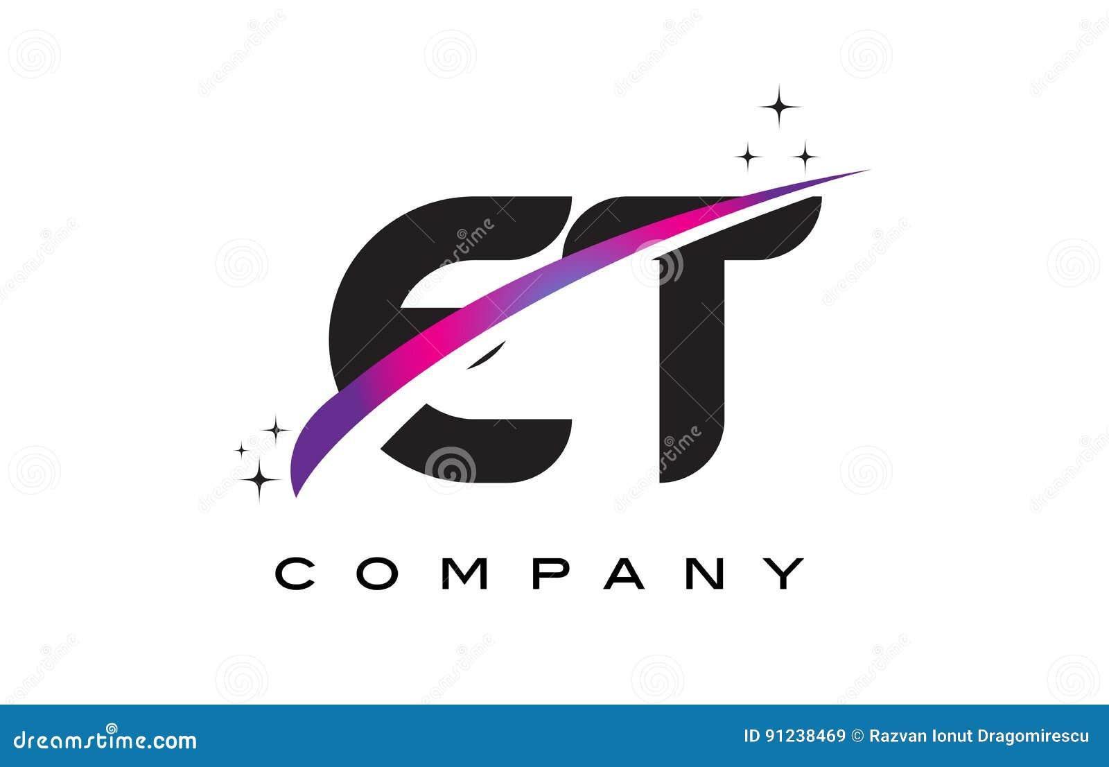 ET E T Black Letter Logo Design With Purple Magenta Swoosh Stock