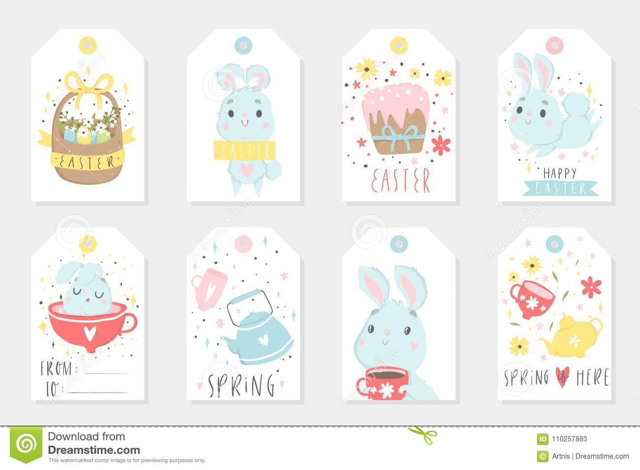 Et of easter gift tags and labels with cute cartoon characters and et of easter gift tags and labels with cute cartoon characters and type design basket kettle negle Image collections