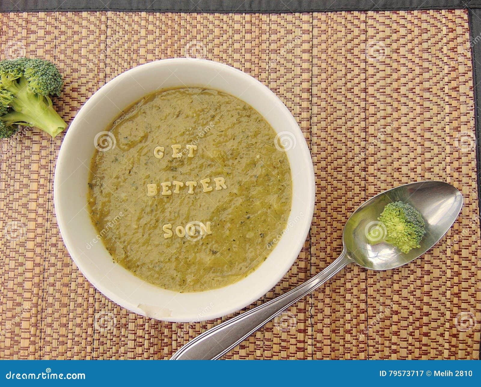 Et x22 ; Obtenez un meilleur soon& x22 ; écrit en potage aux légumes avec la cuillère