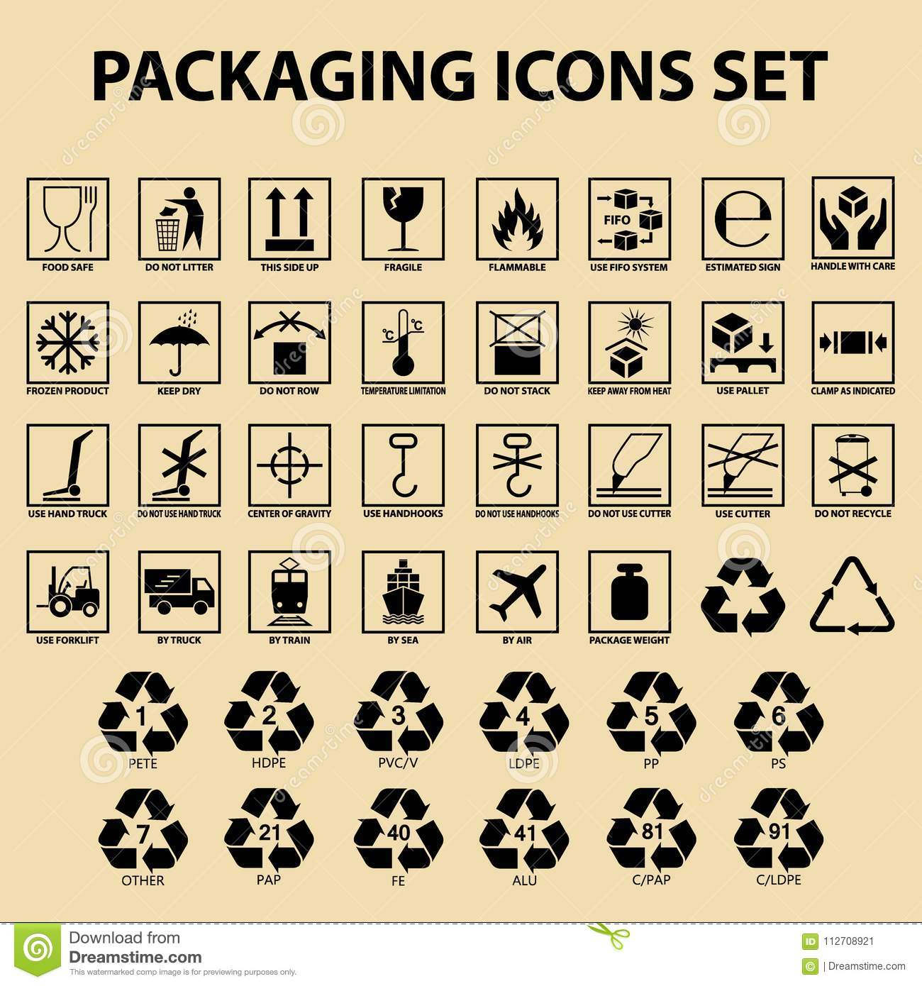 Et of packaging icons, packing cargo labels, delivery service symbols