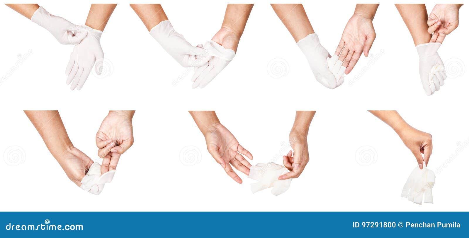 Etapa da mão que joga afastado as luvas descartáveis brancas médicas