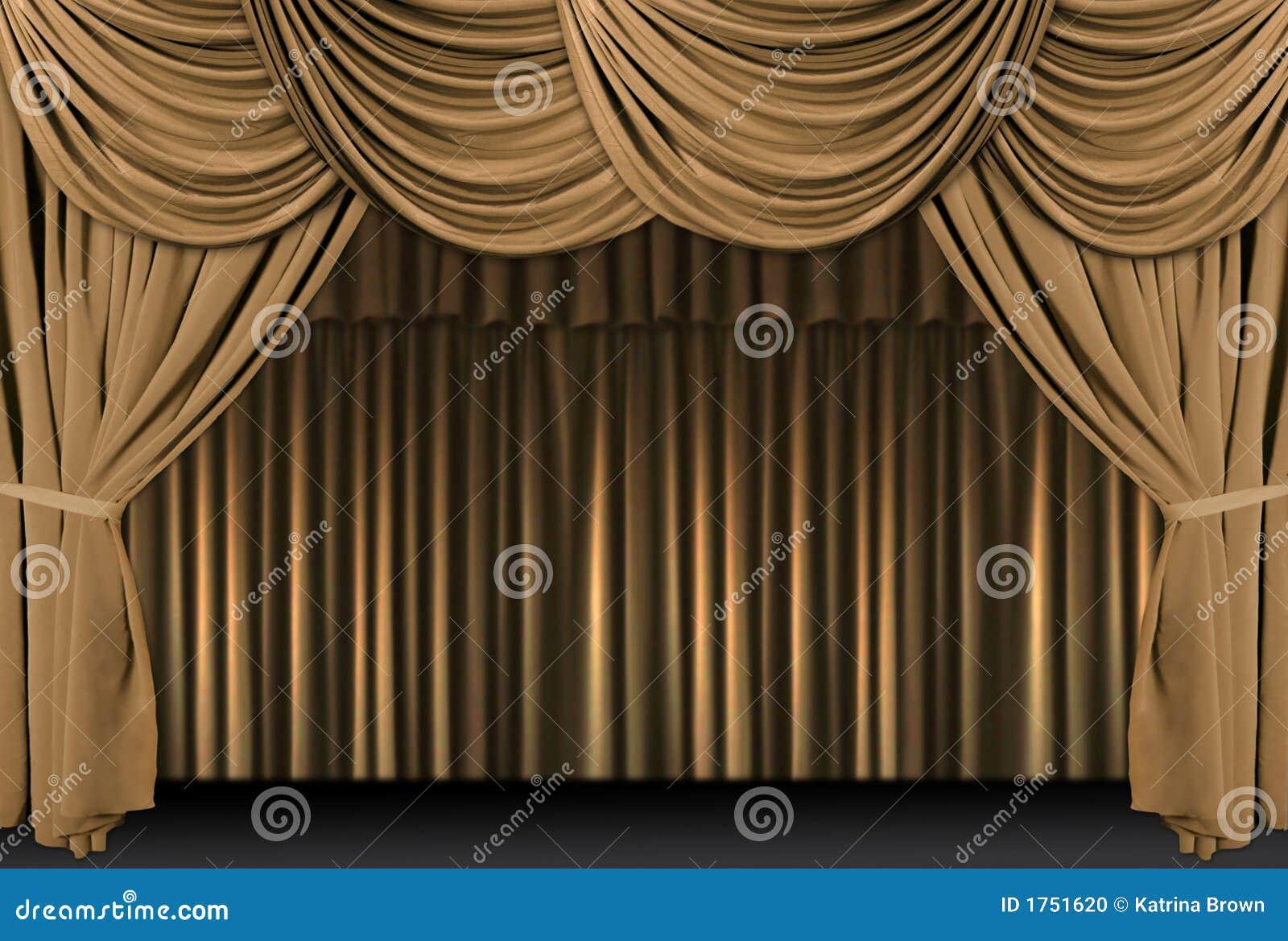 Etapa del teatro del oro cubierta con las cortinas