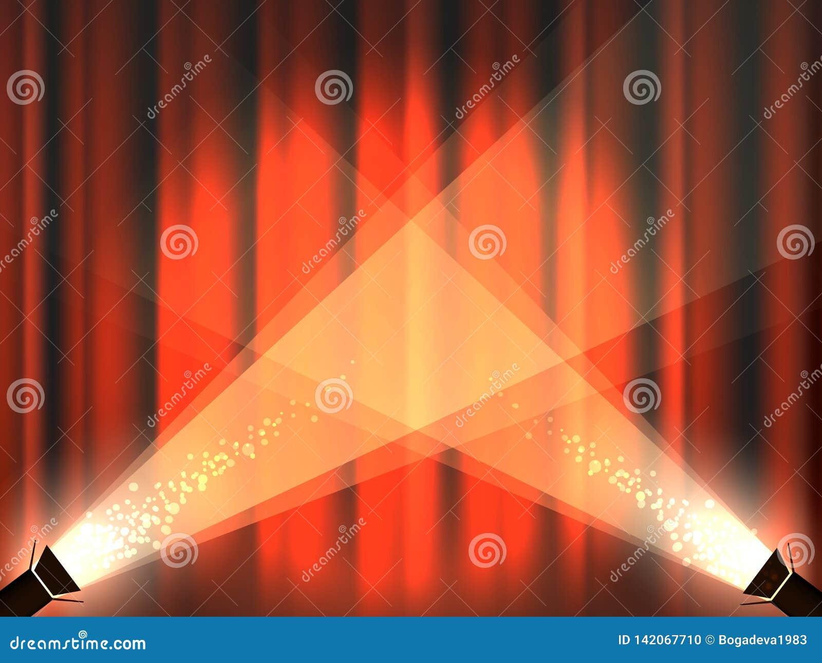 Etapa del vintage con las cortinas y las luces rojas del punto