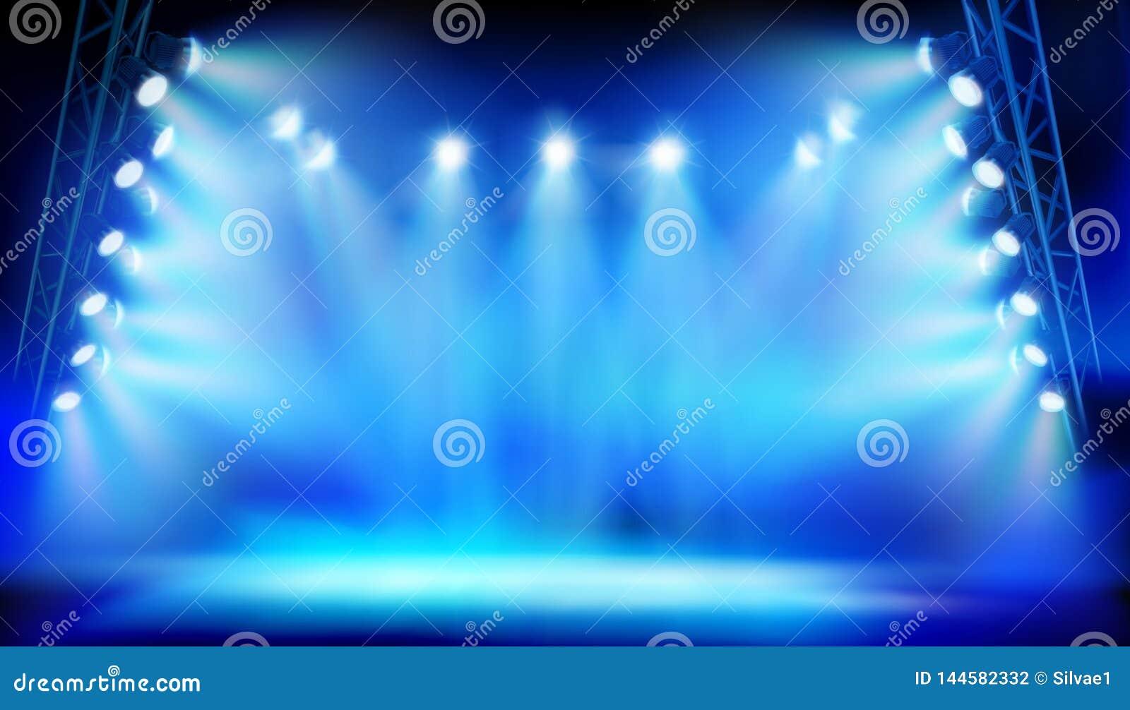 Etapa iluminada por los proyectores durante la demostración en el estadio Ilustración del vector