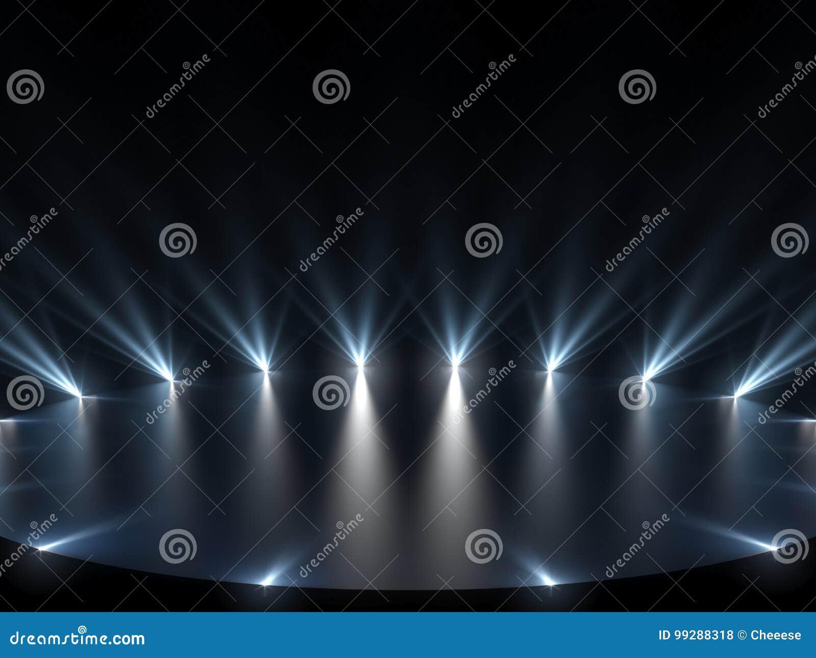 Etapa libre con las luces, dispositivos de iluminación