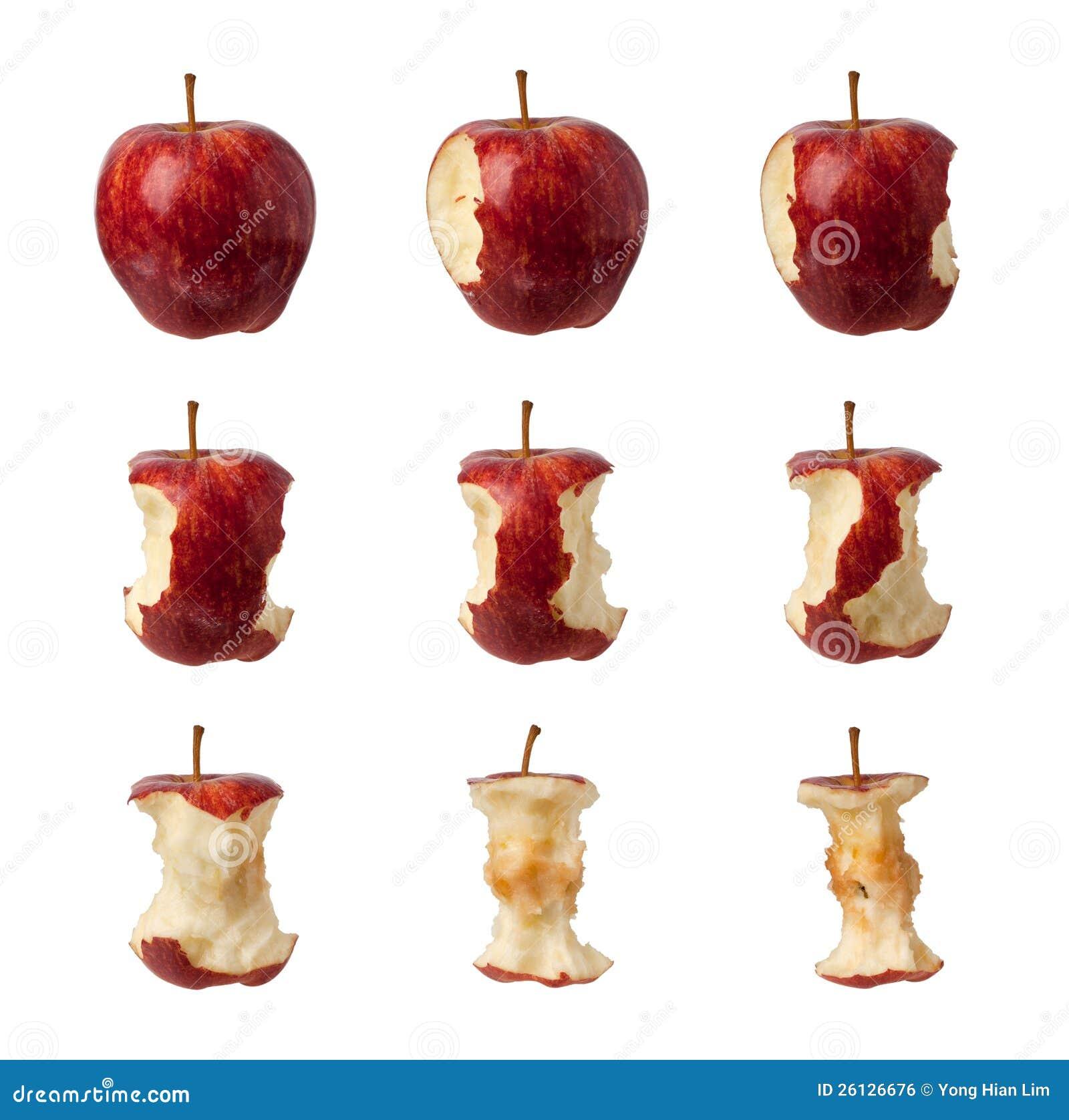 Etapas para comer uma maçã