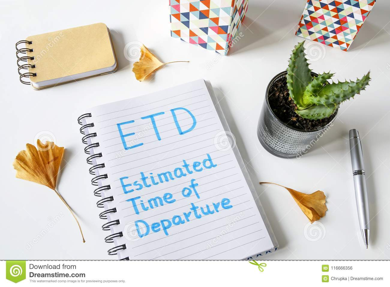 Etd Estimated Time Of Departure Written In Notebook Stock Photo Image Of Definition Office 116666356