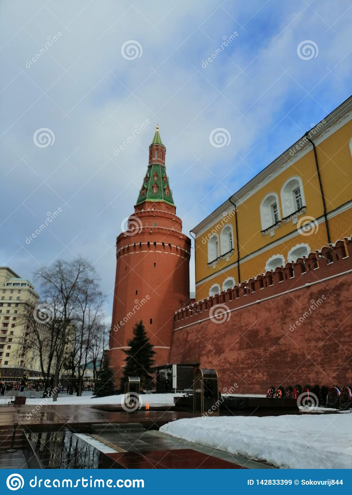 The eternal flame on the background of the Kremlin  towers