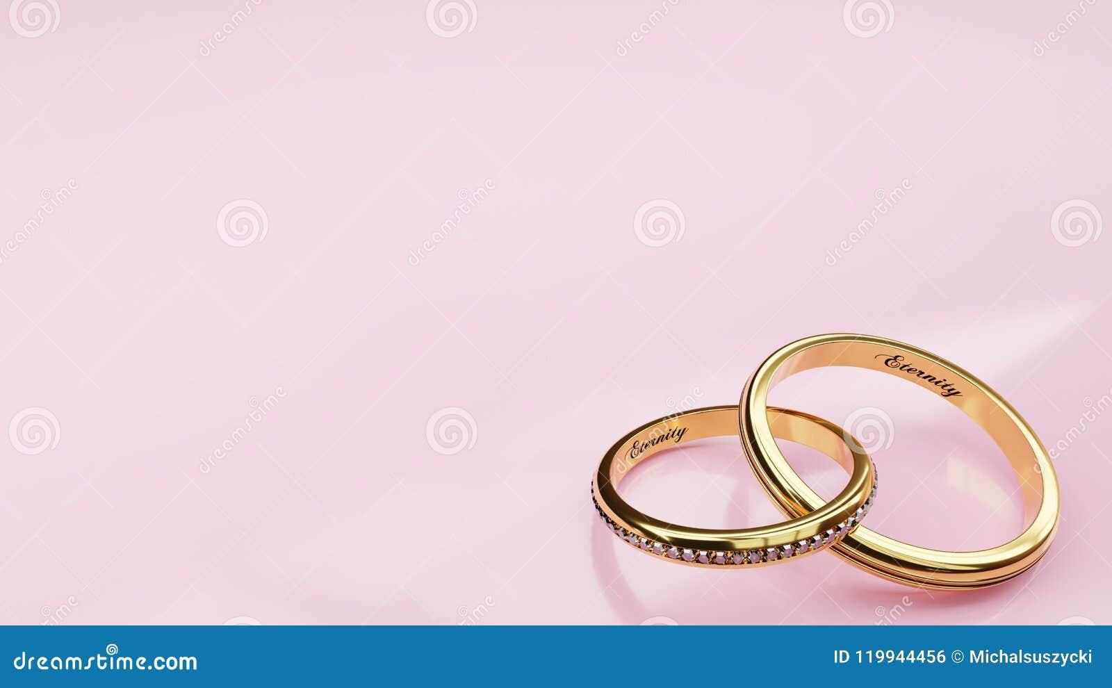 66a65bc9eb18 Eternidad de la invitación de boda - el fondo rosado y dos anillos de oro se