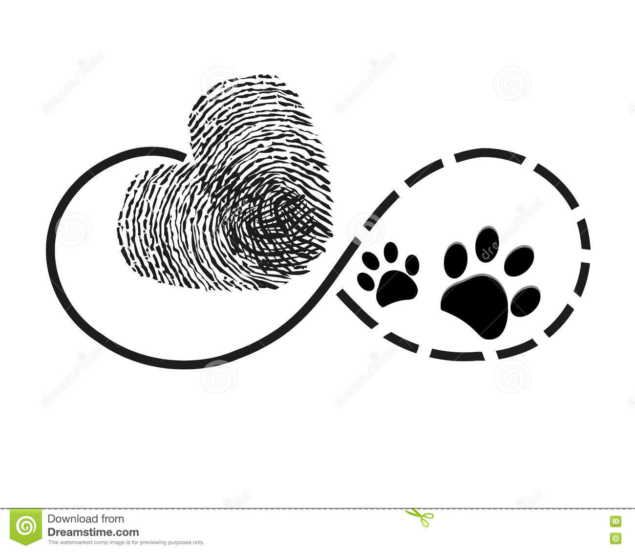 Eternity With Finger Print Heart And Dog Paw Prints Symbol Tattoo Stock Vector Illustration