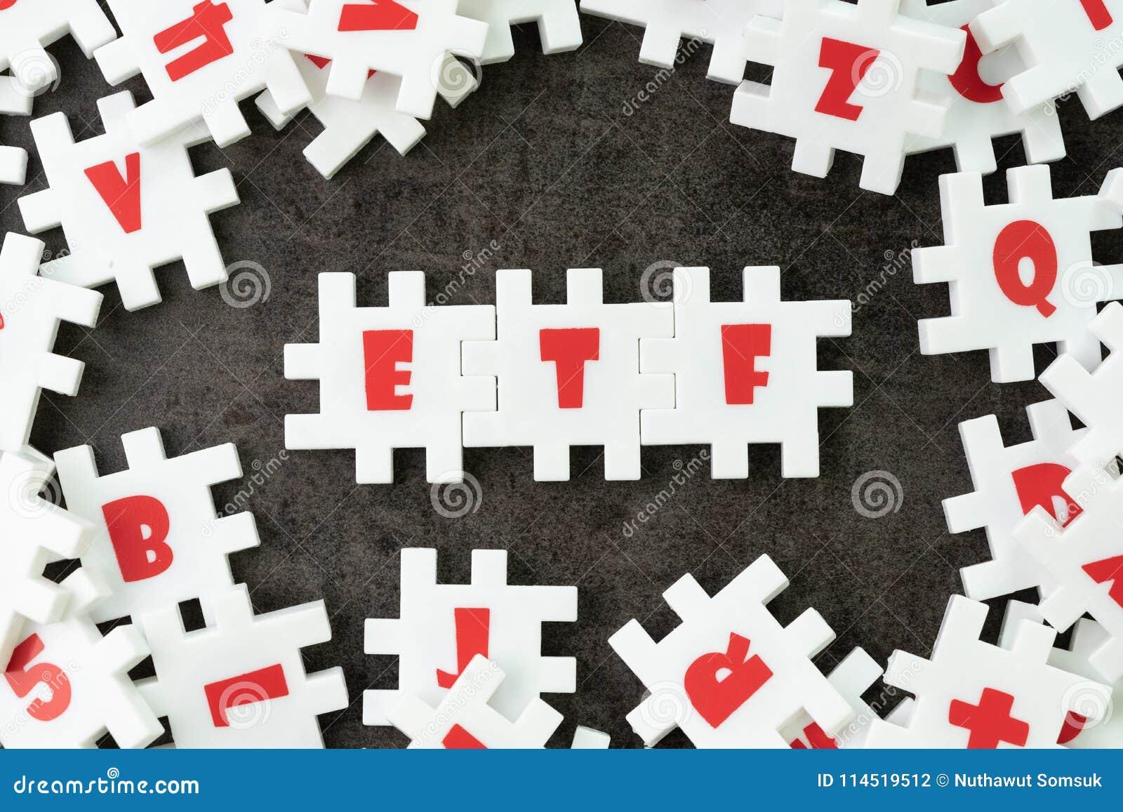 ETF, обмен торговал концепцией фондом, белым зигзагом головоломки с alph