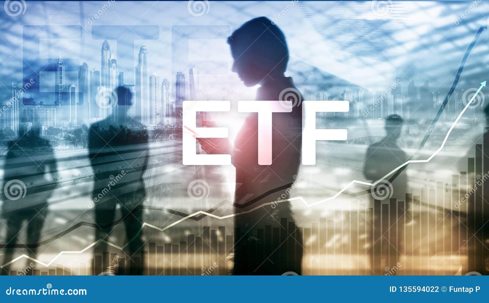 ETF - Ferramenta financeira e trocando do fundo trocado troca Conceito do negócio e do investimento