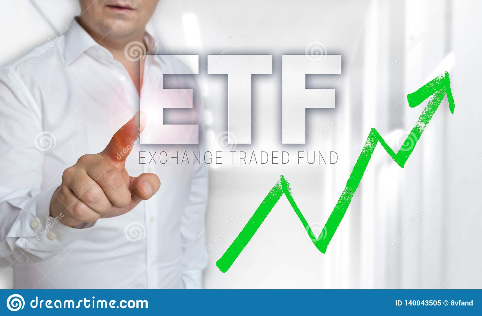 ETF touchscreen concept is operated by man