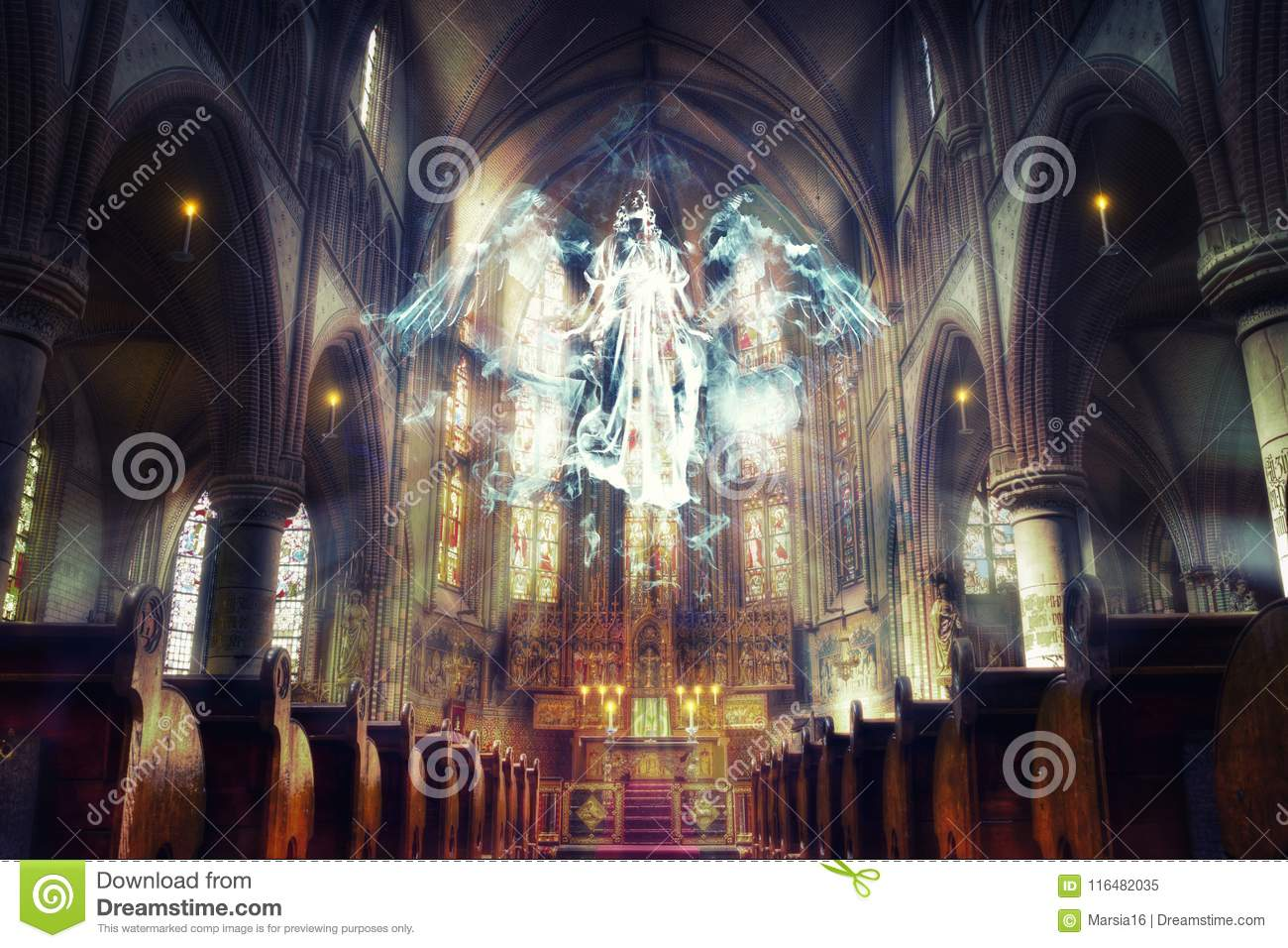 Unseen Reality. Angel Hovering in the Church.