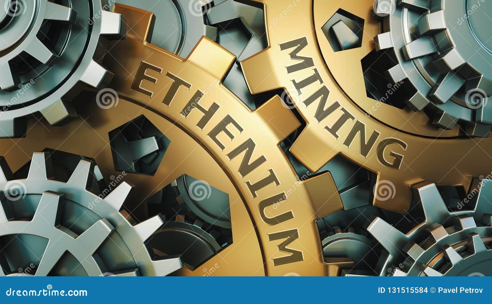 Ethereum埃特开采的概念 金子和银色齿轮weel背景例证 3d回报