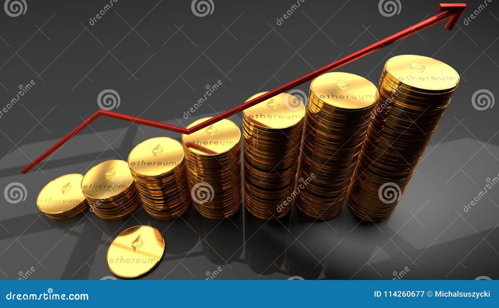 Ethereum货币,网络,数字式硬币,堆与一张红色上升的图的金黄硬币