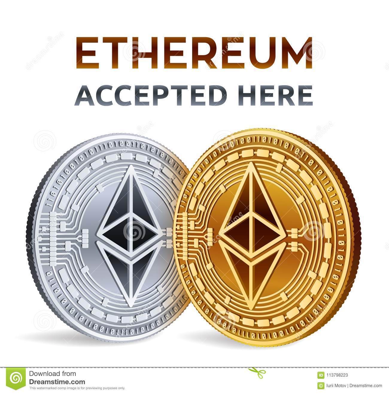Ethereum Accepted Sign Emblem Crypto Currency Golden And Silver
