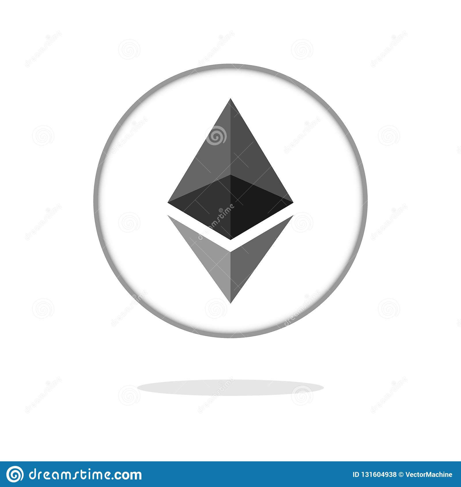 Ethereum Crypto Currency Coin Ether Chrystal Art Icon For Apps And