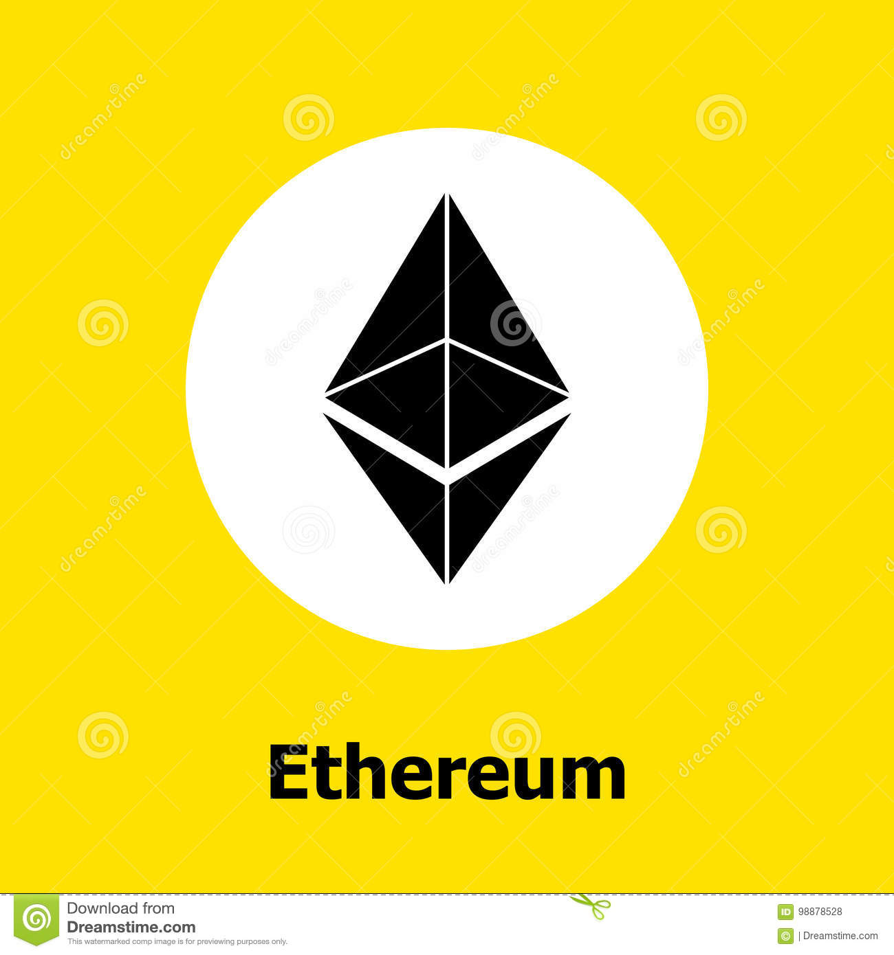 Ethereum Cryptocurrency Blockchain Flat Icon A Yellow Background Vector Sign