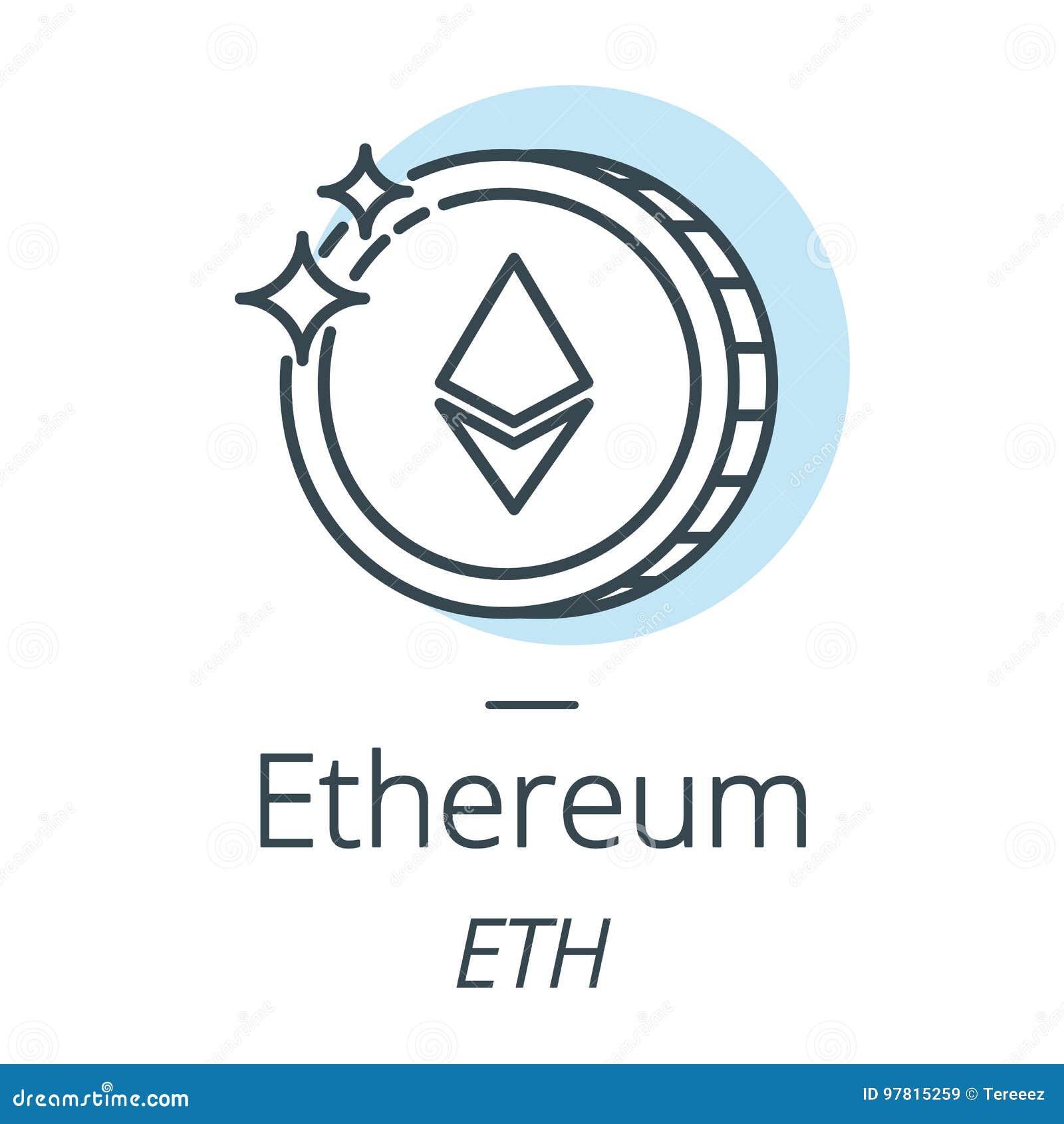 Ethereum-cryptocurrency Münzenlinie, Ikone der virtuellen Währung