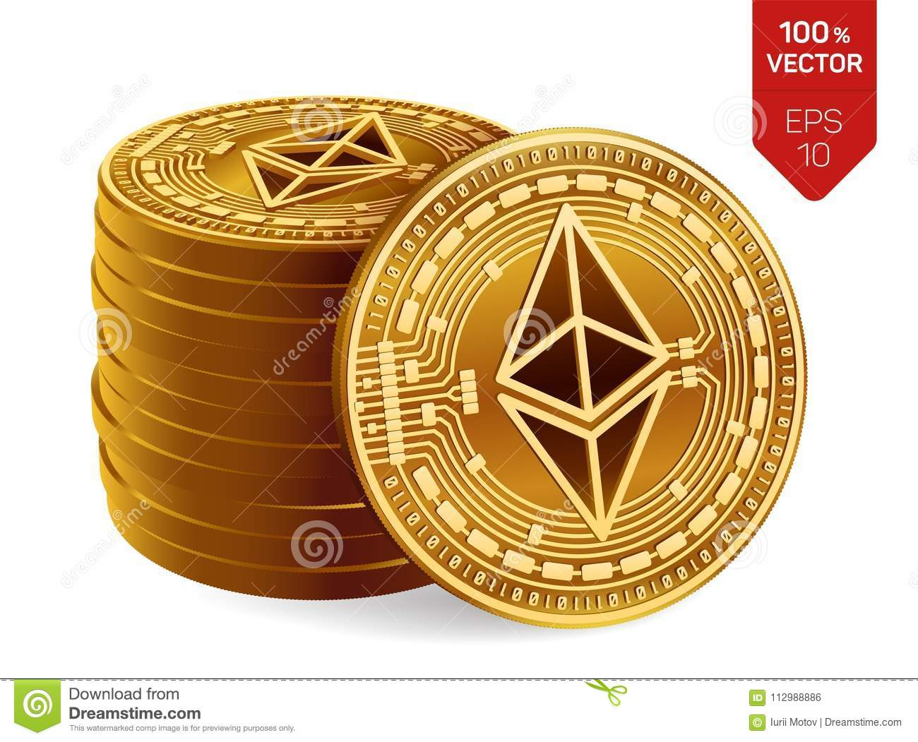 Ethereum. 3D isometric Physical coins. Digital currency. Cryptocurrency. Stack of golden coins with Ethereum symbol isolated on wh