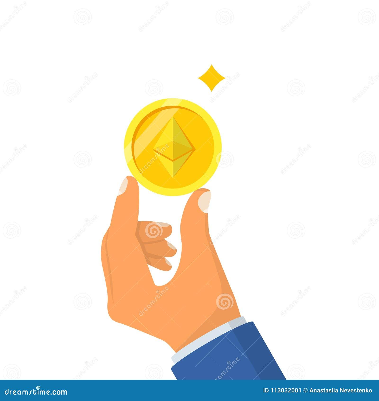 Ethereum de la moneda que detiene al hombre disponible