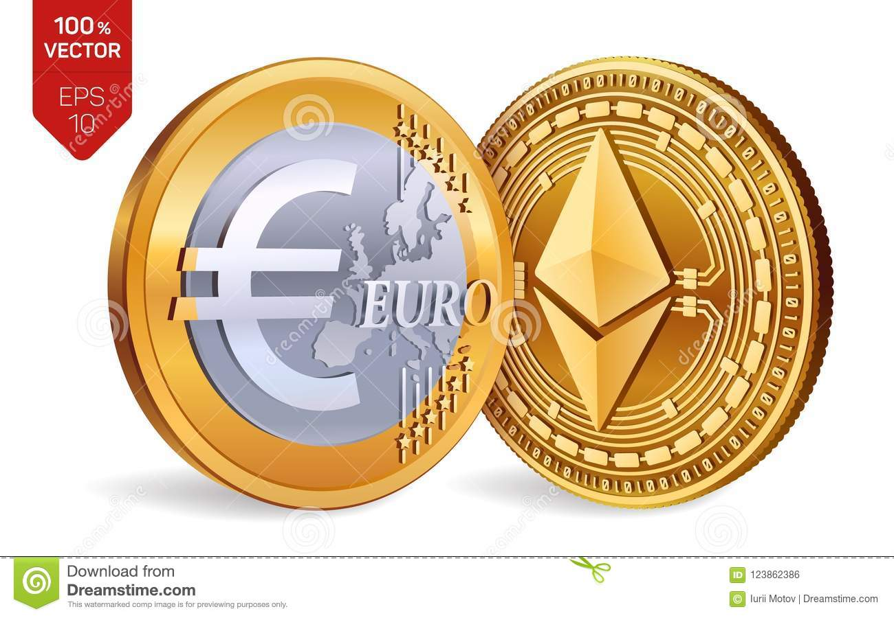 Ethereum Euro Coin 3d Isometric Physical Coins Digital Currency