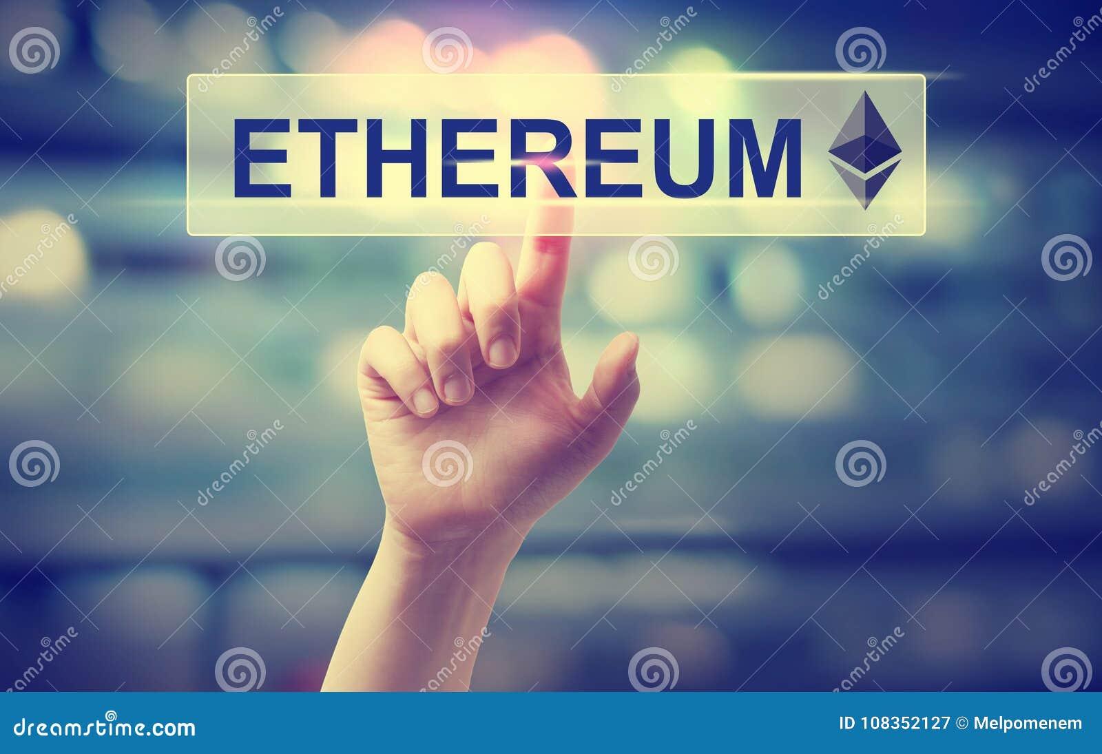 Ethereum med att trycka på för hand en knapp