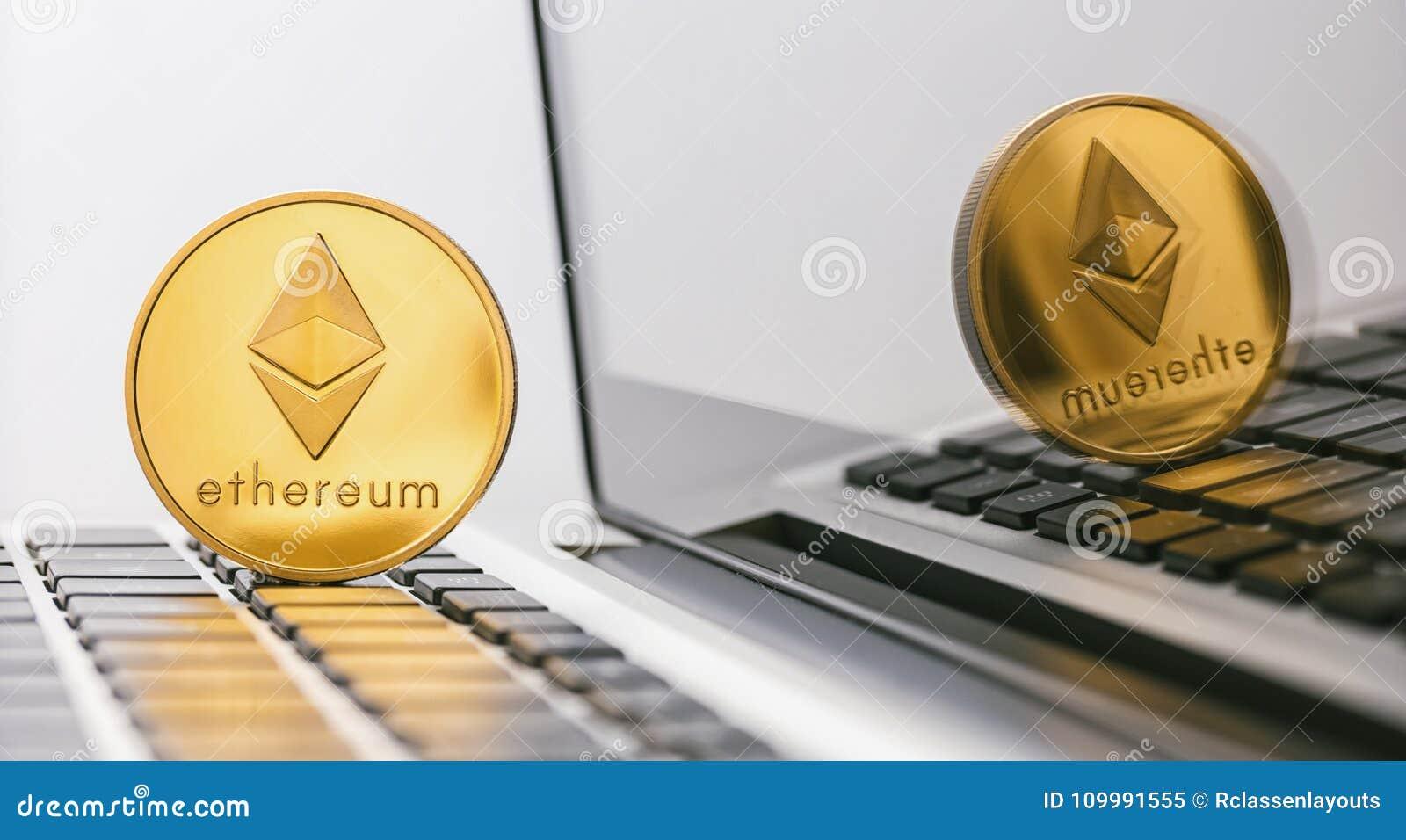Ethereum moneta - Cyfrowego cryptocurrency na notatniku