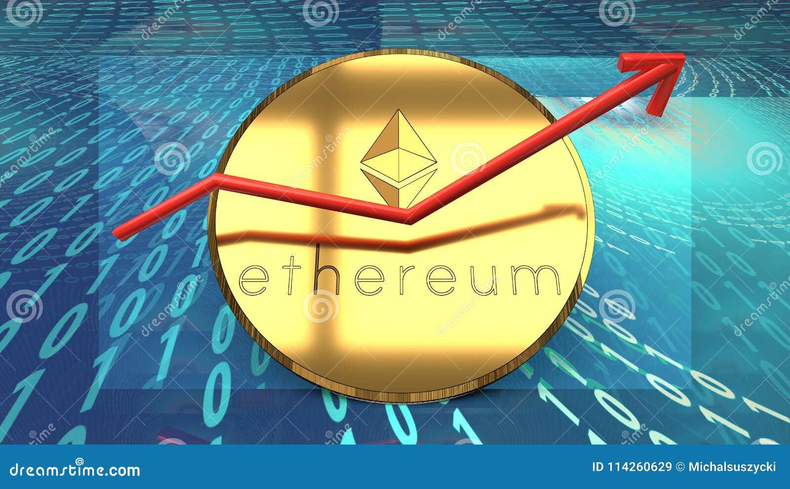 Ethereum-Währung, blockchain basierte Cyberdigitale Schlüsselwährung, bitcoin Alternative, wachsendes rotes Diagramm symbolisiert