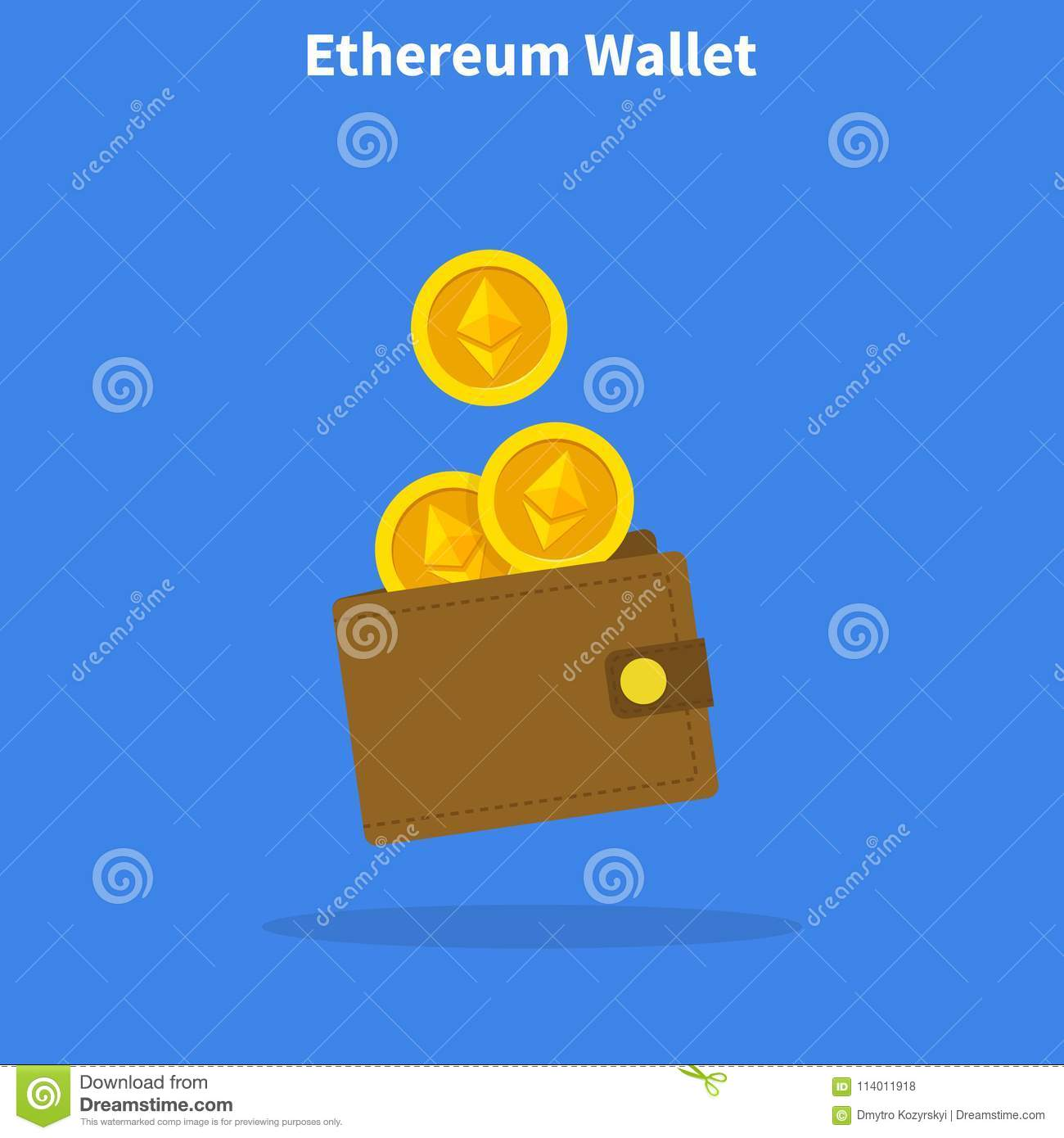 Ethereum Wallet With Coins Crypto Currency In The Design Concept Vector Illustration