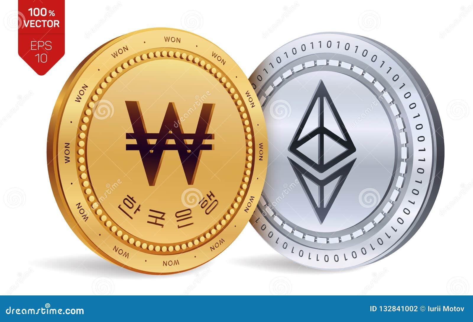 Ethereum  Won  3D Isometric Physical Coins  Korea Won Coin