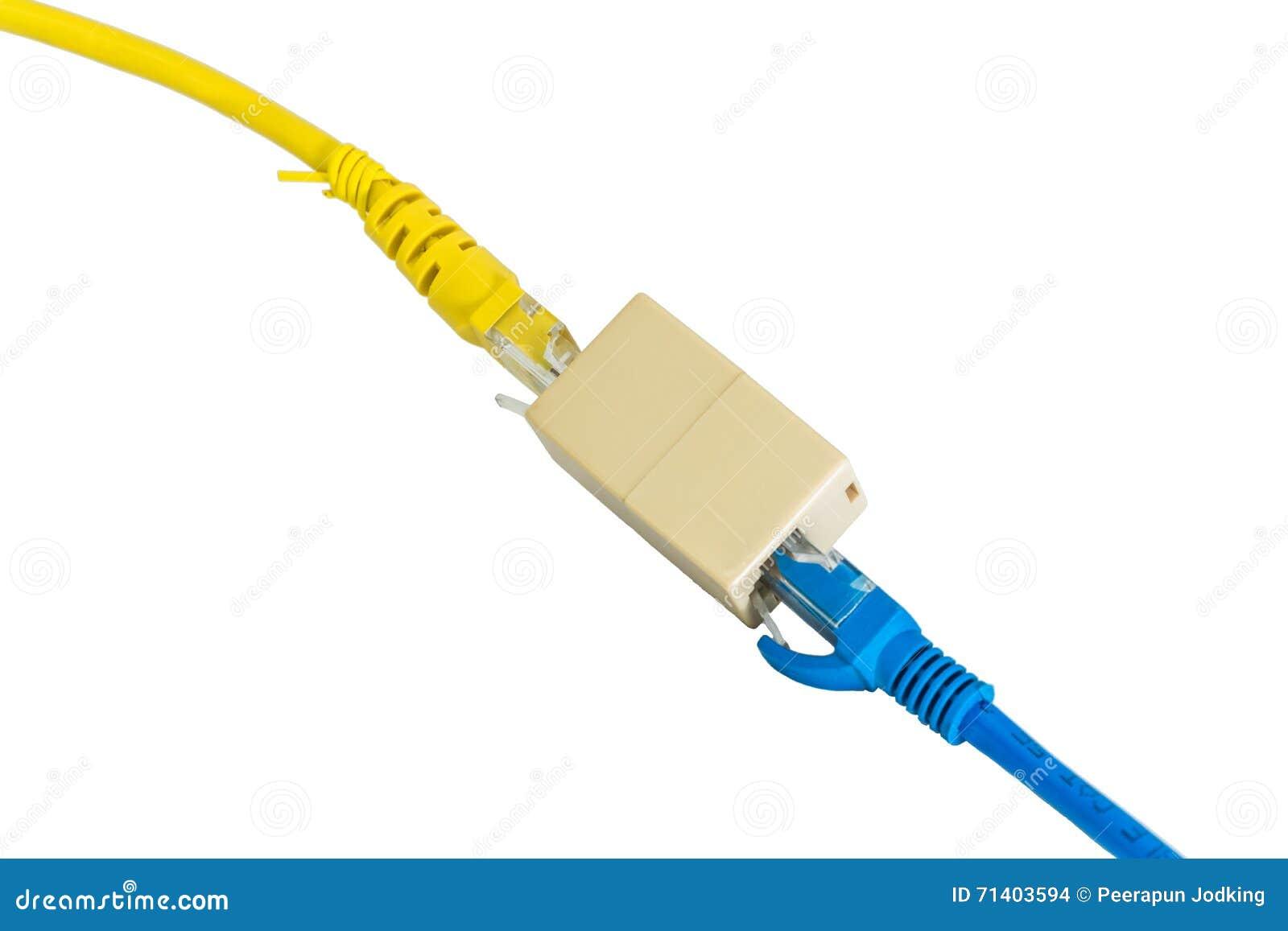 Ethernet azul y amarilla Cat5e telegrafía el suplemento o del cable del enchufe RJ45