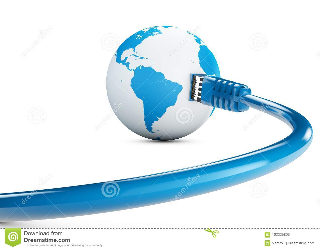 Ethernet cable, internet connection, bandwidth. The world on the web. World Connections, Globe