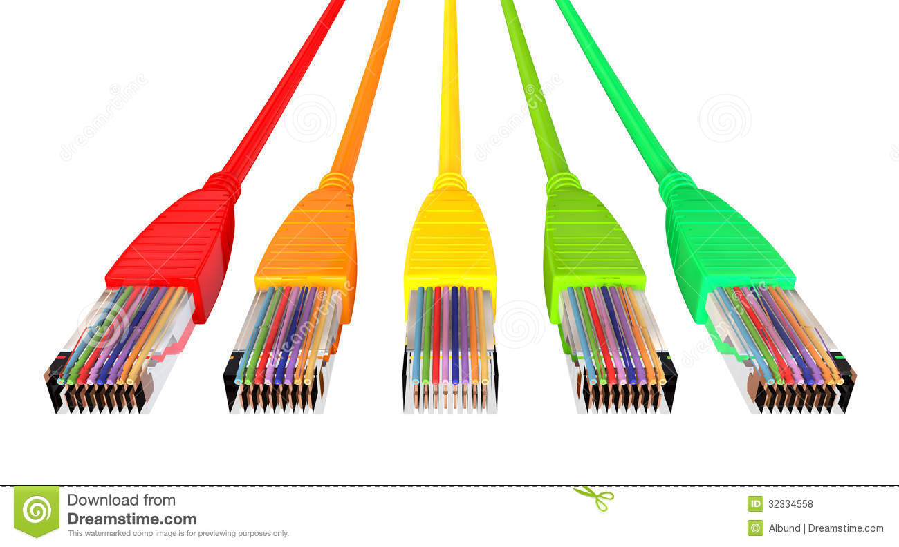Ethernet Cables Unplugged Colors Pointing Forward Top Stock ...
