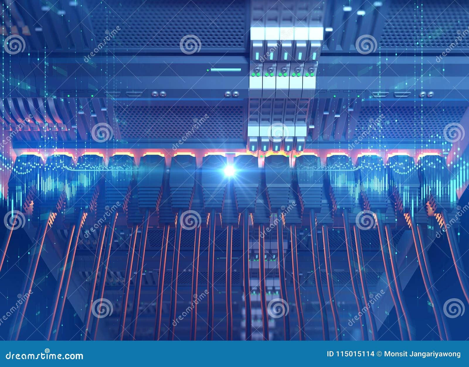 Ethernet Network Cables Connected To Internet Server 3d Illustra ...