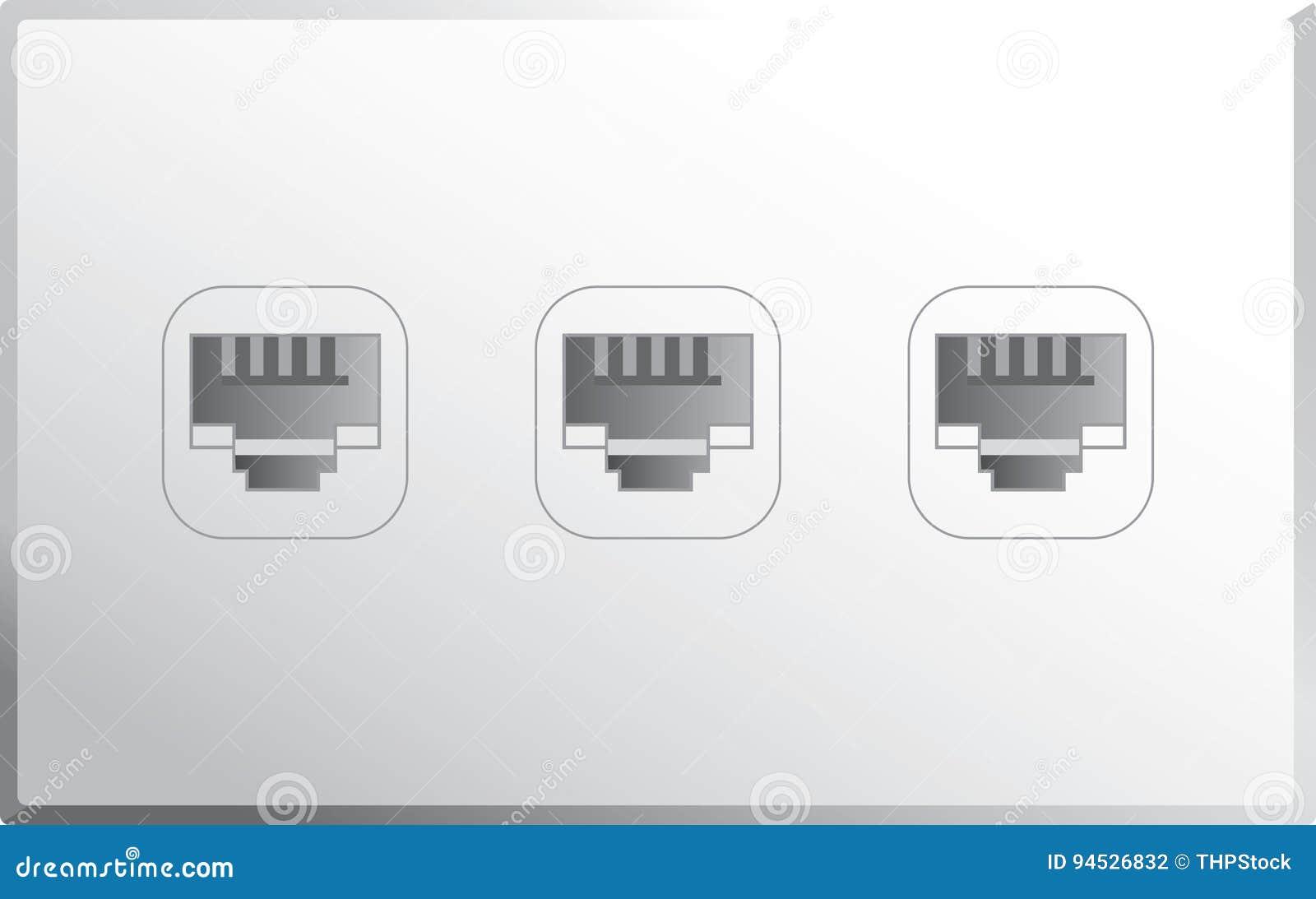Ethernet Port Vector stock vector. Illustration of equipment - 94526832