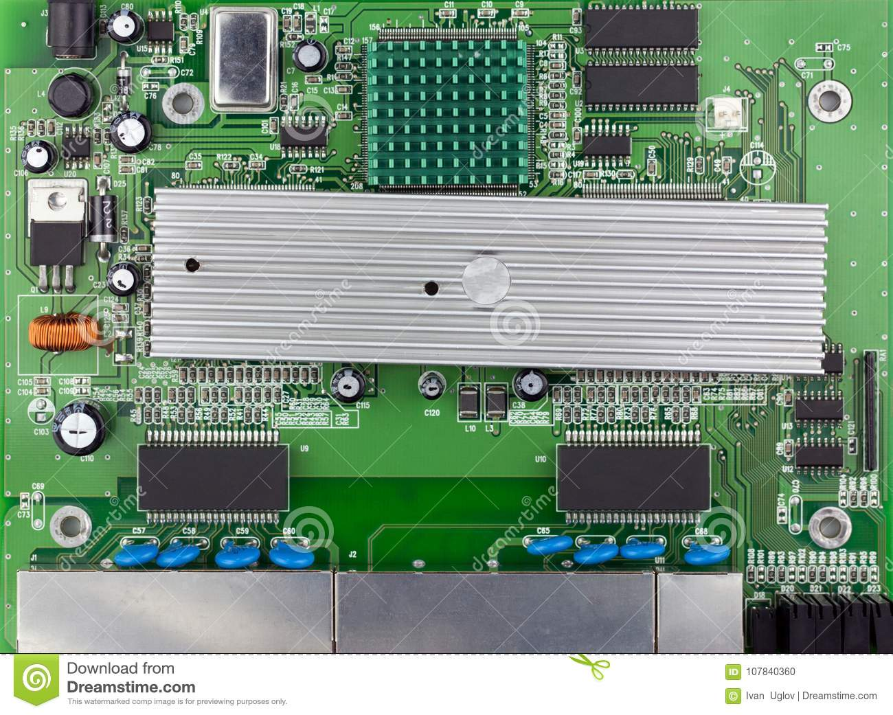 Ethernet Switch Green Board Top View, Green PCB Used Stock Photo ...