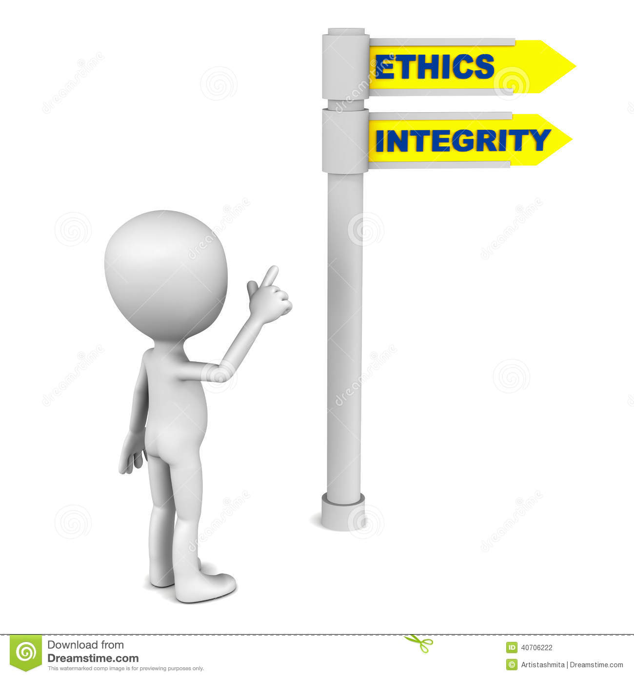 ethics integrity words road sign little man pointing to right way 40706222
