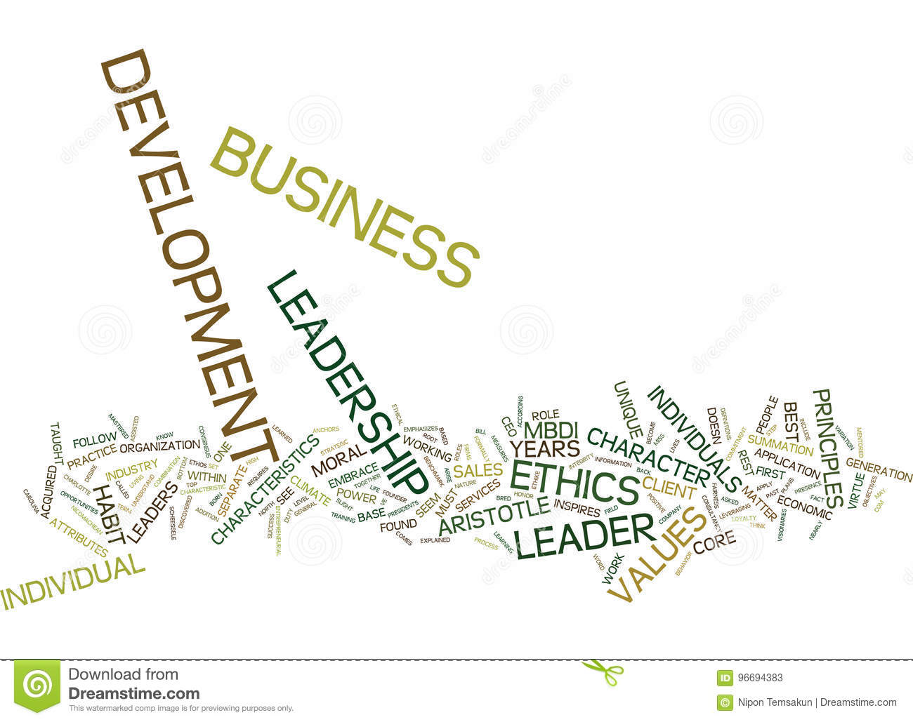 Ethics Leadership In Business Development Text Background Word Cloud Concept
