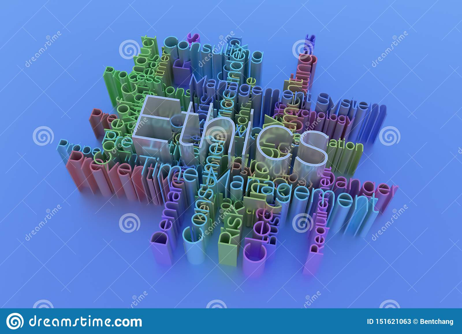 Ethiek, bedrijfssleutelwoord en woordenwolk Voor webpagina, grafisch ontwerp, textuur of achtergrond het 3d teruggeven