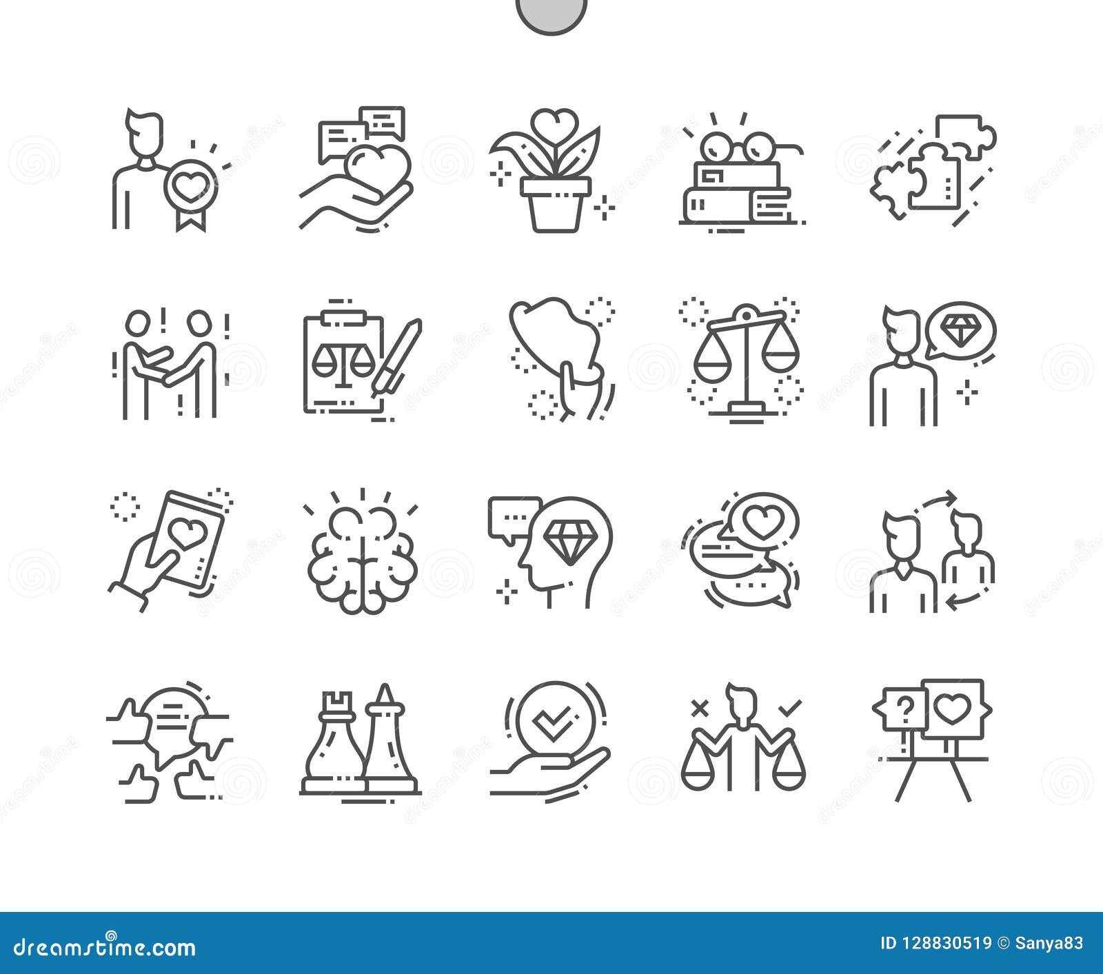 Ethiek goed-Bewerkte Pictogrammen 30 van de Pixel Perfecte Vector Dunne Lijn 2x Net voor Webgrafiek en Apps