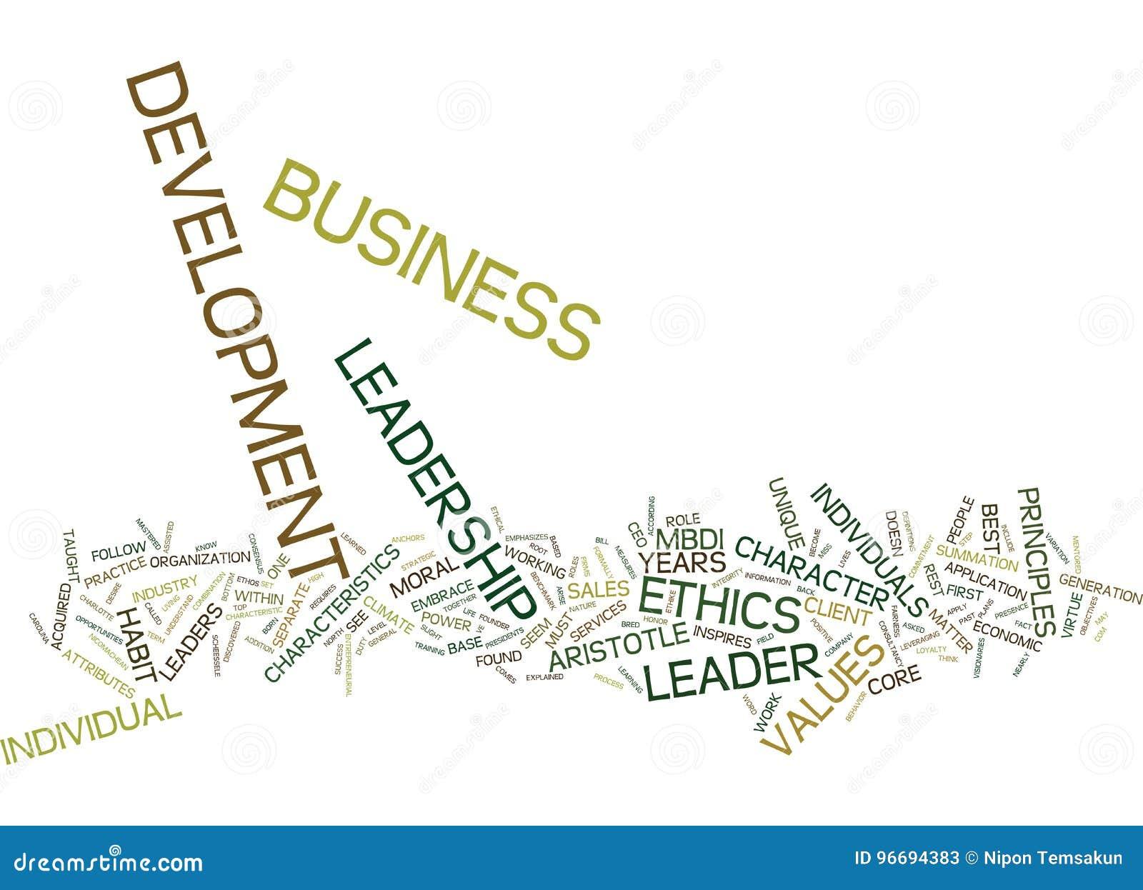 Ethik-Führung im Text-Hintergrund-Wort-Wolken-Konzept der wirtschaftlichen Entwicklung