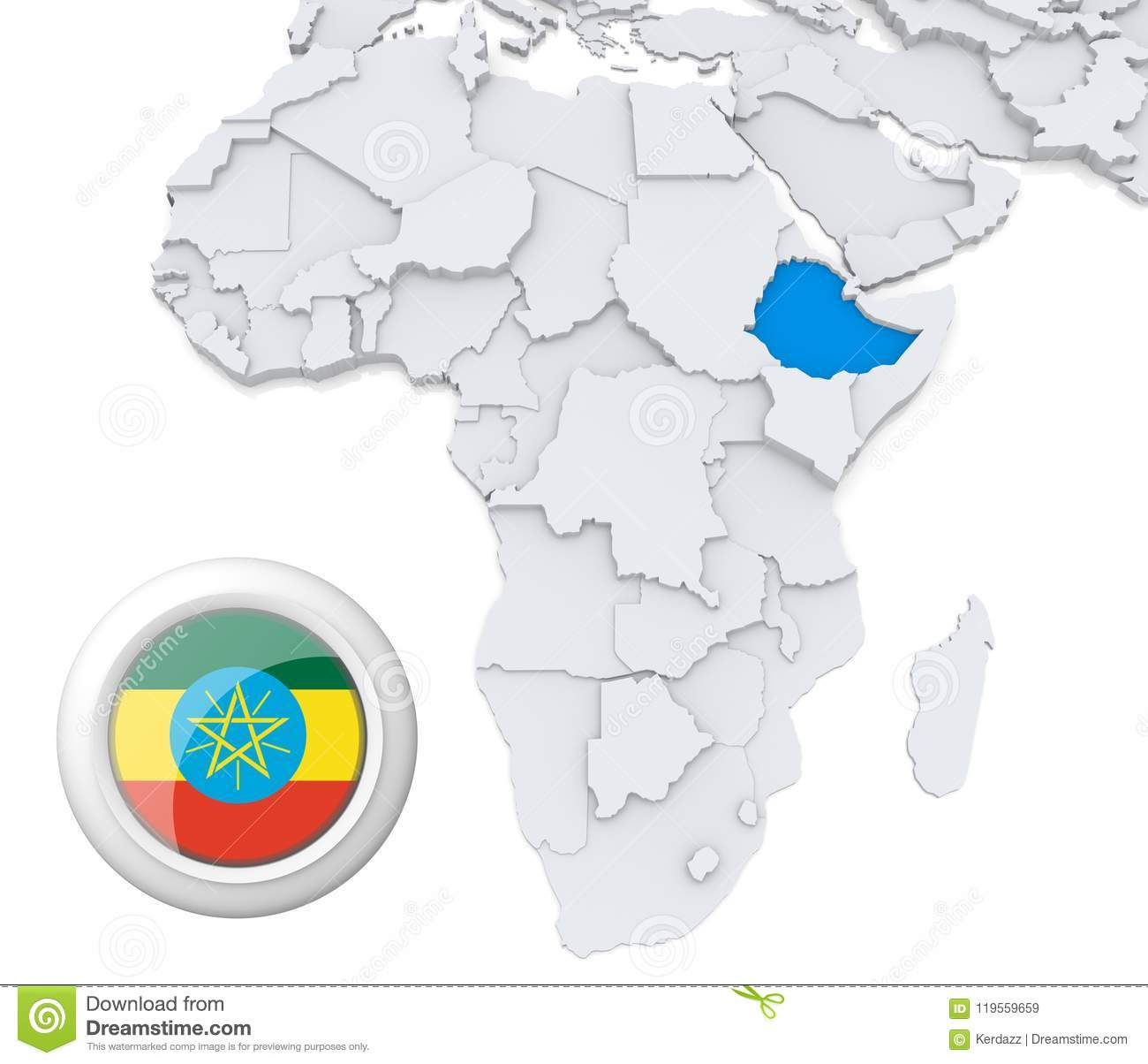 Ethiopia on Africa map stock illustration. Illustration of business ...