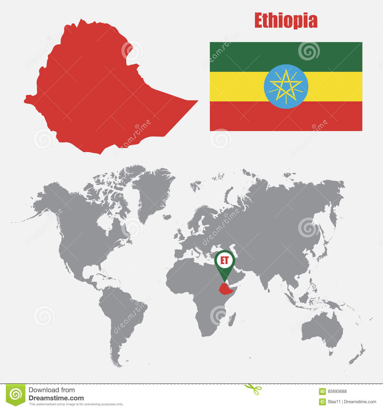Ethiopia Map On A World Map With Flag And Map Pointer. Vector ...