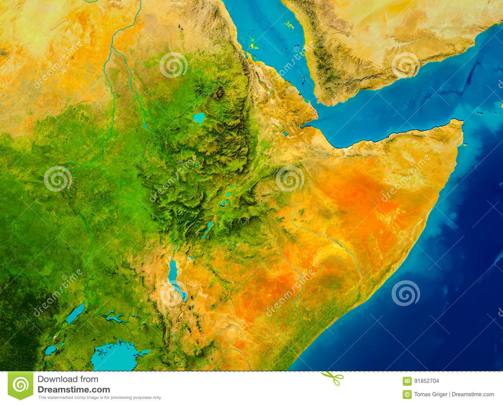 Ethiopia On Physical Map Stock Illustration Illustration Of